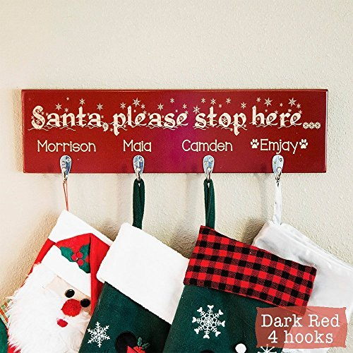 Personalized Rustic Stocking Holder - Christmas Stocking Holder - Personalized Stocking Holders For Mantle - Rustic Stocking (Personalized Stocking Holders)