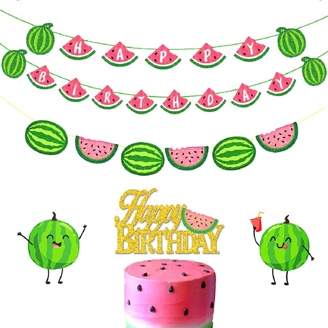 JeVenis Set of 3 Watermelon Birthday Banner Watermelon Balloons for One In A Melon Birthday Banner Watermelon Banner Watermelon Party Decoration