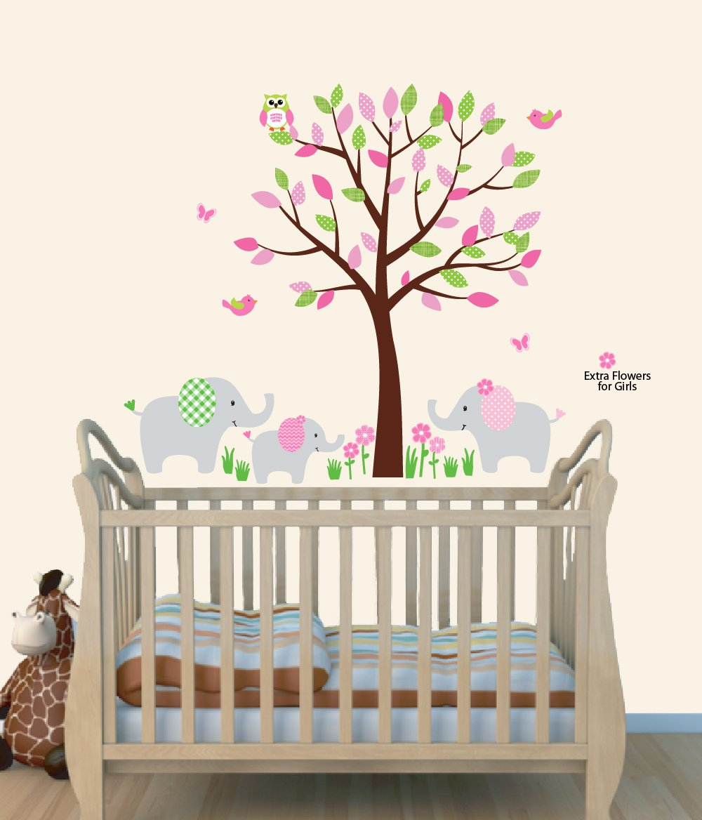 Amazoncom Elephant Nursery Tree Decal Pink Wall Stickers - Baby room decals