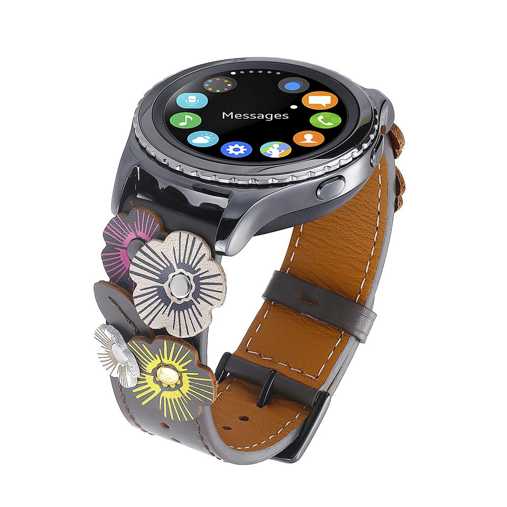 FayTop Luxury Flower Leather Watch Band for Women 20mm Samsung Watch Band 42mm Black Buckle for Galaxy Watch Active 40mm and Most 20mm Width Band ...