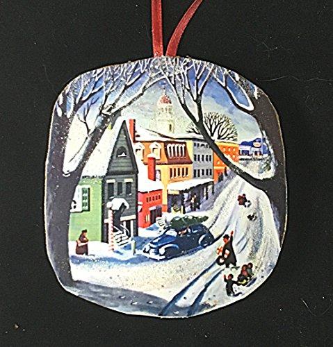 Scene Gift Card - Nostalgic Main Street Ornament Handcrafted Wood Christmas Decoration 1950s Card, Hostess Neighbor Parent Gift, Winter Snow Scene