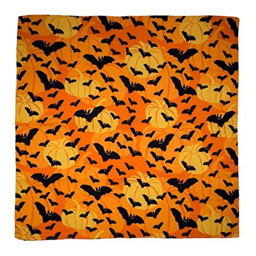 Halloween Flying Bats with Pumpkins Bandana - Single Piece - 22x22 -
