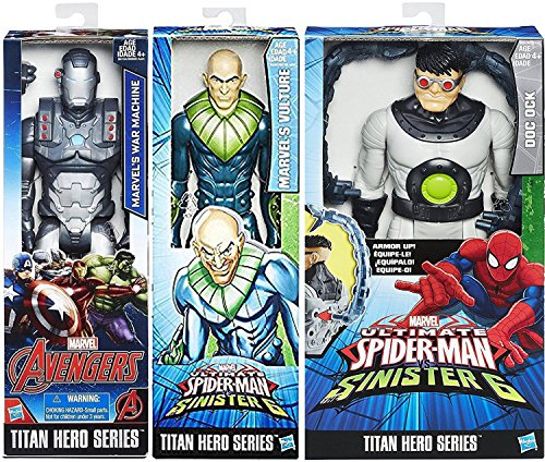 "Ultimate Marvel Sinister 6 Doc Ock Villain 3-Pack Doctor Octopus with Gear / Vulture Bad Guy series Titan Hero Series Avengers War Machine 12"" Super Hero Action Big Figure Set"