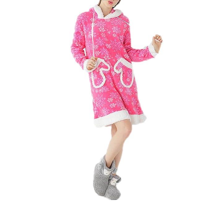 QPALZM QPALZM Pijamas De Mujer De Manga Larga Con Capucha Gruesa Pijama De Coral De Invierno