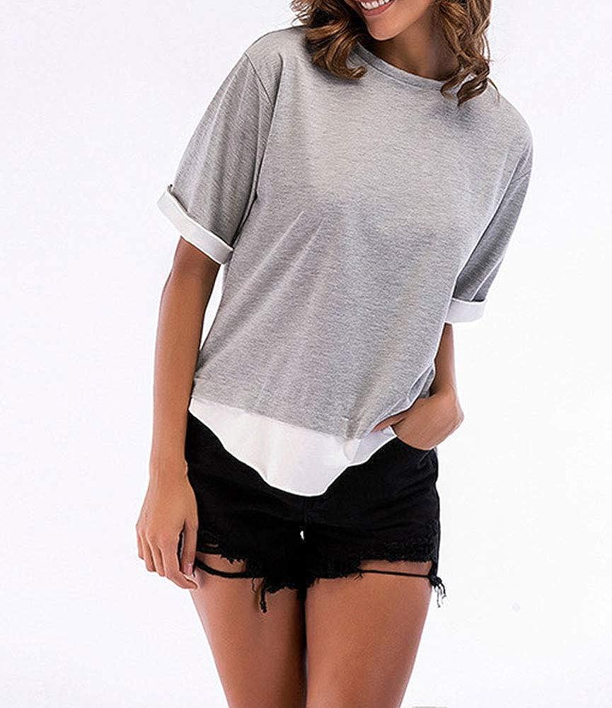 Natrendlis Women Tops Short Sleeve Loose T Shirt Fake Two Pieces