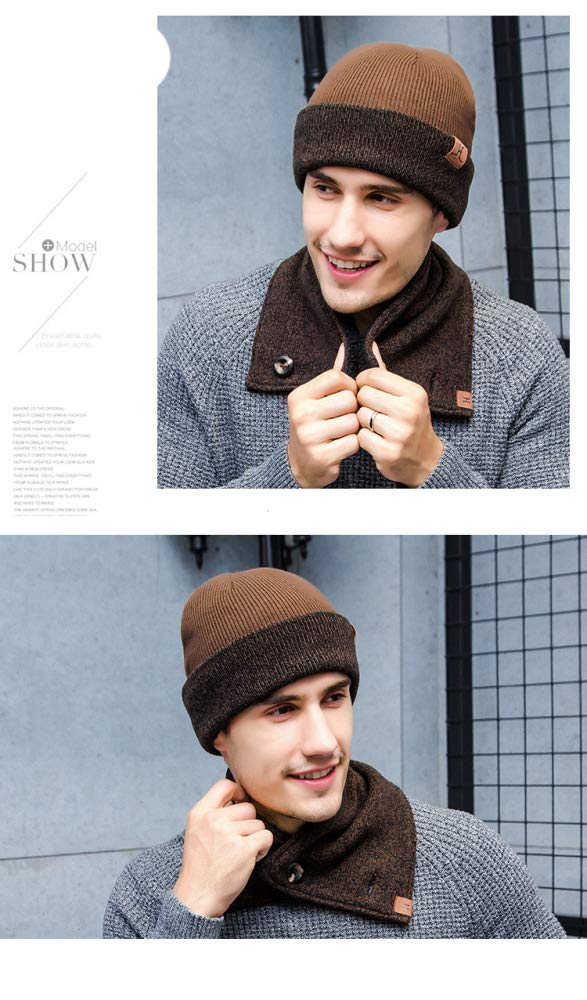 SLR 2018 Autumn and Winter Men and Women Couple Scarves, Knitted Hats, Touch Screen Gloves, Three-Piece Suit,Coffee,One Size