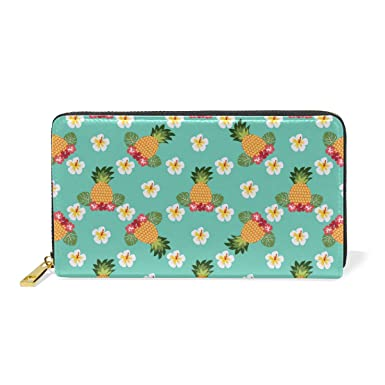 1c2a9b3bec1c Tropical Pineapples And Flower BlueLong zippered leather women's ...