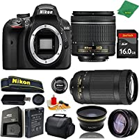 Great Value Bundle for D3400 DSLR – 18-55mm AF-P + 70-300mm AF-P + 16GB Memory + Wide Angle + Telephoto Lens + Case