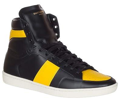 31410848b0d Amazon.com   Saint Laurent Men's Black & Yellow Leather SL/10H High Top  Sneakers Shoes, Black, US 7 / EU 40   Fashion Sneakers