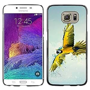 PC/Aluminum Funda Carcasa protectora para Samsung Galaxy S6 SM-G920 Yellow Parrot Art / JUSTGO PHONE PROTECTOR
