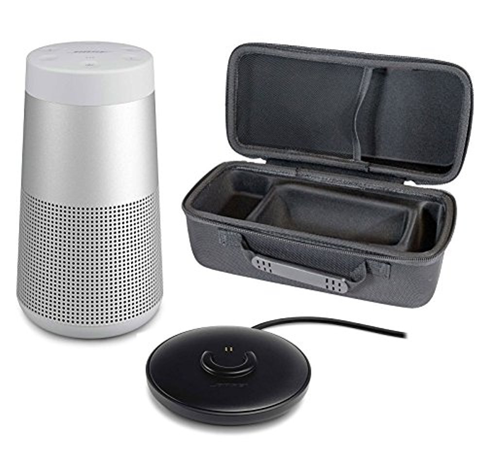 Bose SoundLink Revolve Portable Bluetooth Speaker with 360° Sound, Lux Grey, with Charging Cradle & Portable Hardshell Travel Case by Bose