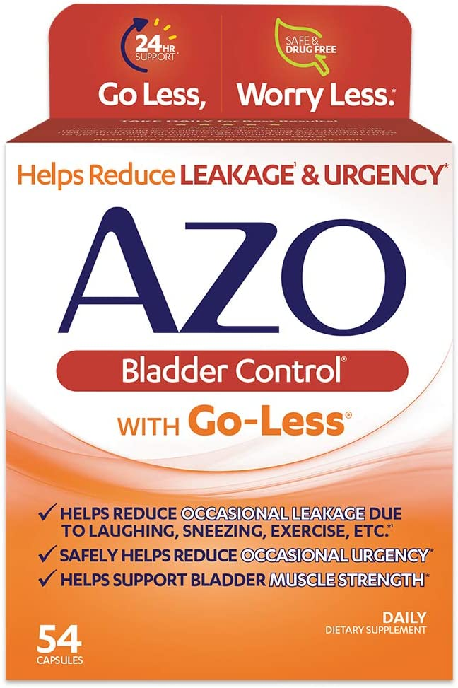AZO Bladder Control with Go-Less Daily Supplement | Helps Reduce Occasional Urgency* | Helps reduce occasional leakage due to laughing, sneezing and exercise | 54 Count Capsules