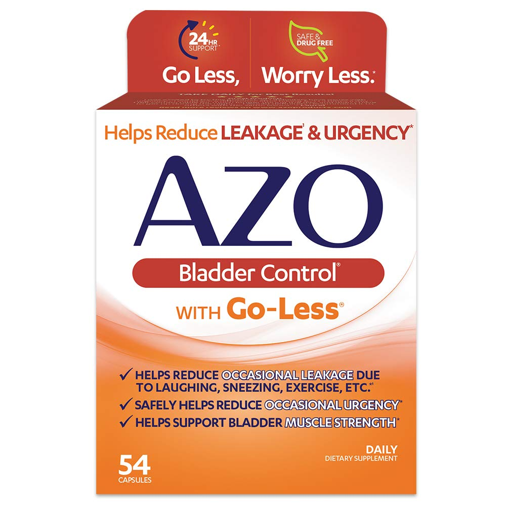 AZO Bladder Control® with Go-Less® Daily Supplement | Helps Reduce Occasional Urgency* | Helps reduce occasional leakage due to laughing, sneezing and exercise††† | 54 Capsules