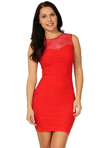 Simplicity Women's Lace Top Mini Dress with Textured Waves