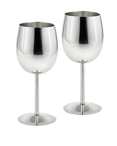Copas de vino de acero inoxidable, 235 ml, 17 cm de alto, 2 unidades
