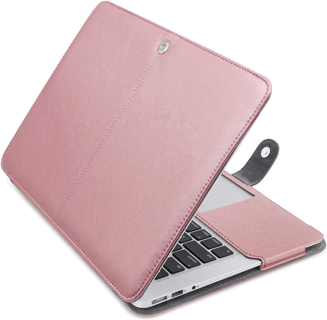 A1465 MOSISO PU Leather Case Compatible with MacBook Air 11 inch A1370 Black Book Folio Protective Stand Cover Sleeve