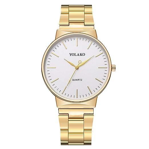 Reloj Inteligente Hombre Mujer YOLAKO Reloj de Pulsera analógico con Correa de Acero Newv Band de Cuarzo para Hombre Reloj Actividad (Oro): Amazon.es: ...