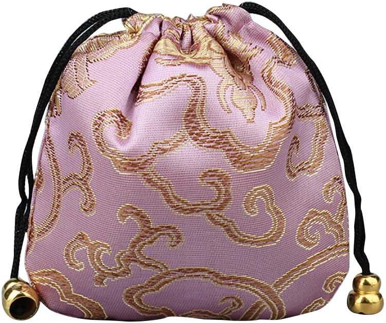 hudiemm0B Storage Bag,Organizer Bag,Large Capacity Bright Color Chinese Good Lucky Bag Auspicious Cloud Design Storage Gift Pouch