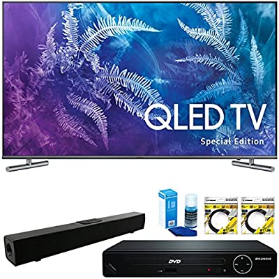 """Samsung Special Edition 49"""" Class Q6F QLED 4K TV 2017 Model (QN49Q6FAMFXZA) with HDMI HD DVD Player, Solo X3 B.tooth Home Theater Sound Bar, 2x 6ft HDMI Cable & Screen Cleaner for LED TVs"""