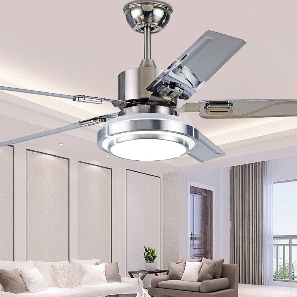 RainierLight Modern Ceiling Fan 5 Stainless Steel Blades Opal Glass Lampshade Remote Control LED 3 Changing Light for Indoor (42inch)