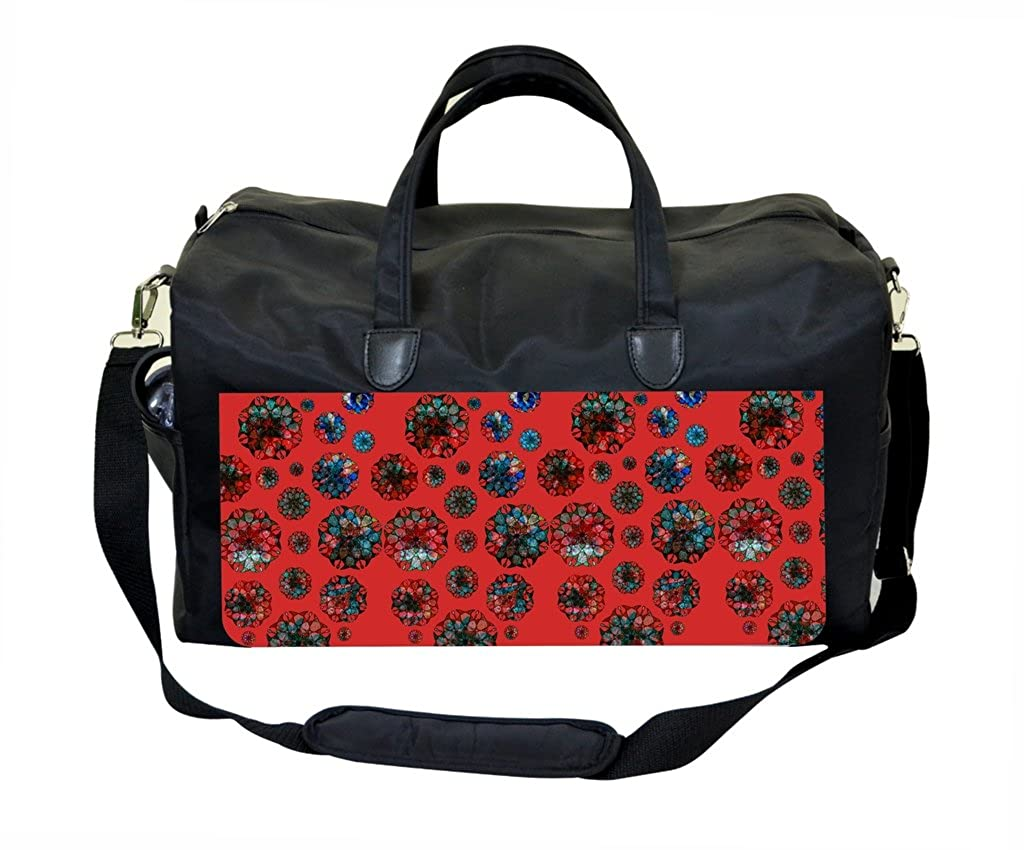 Abstract Grunge Flowers PU Leather and Suede Weekender Bag
