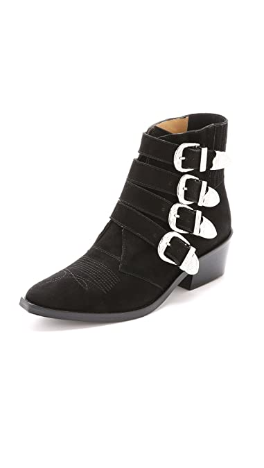 f3f35b728e3 Amazon.com | Toga Pulla Women's Buckled Suede Booties, Black, 40 M ...