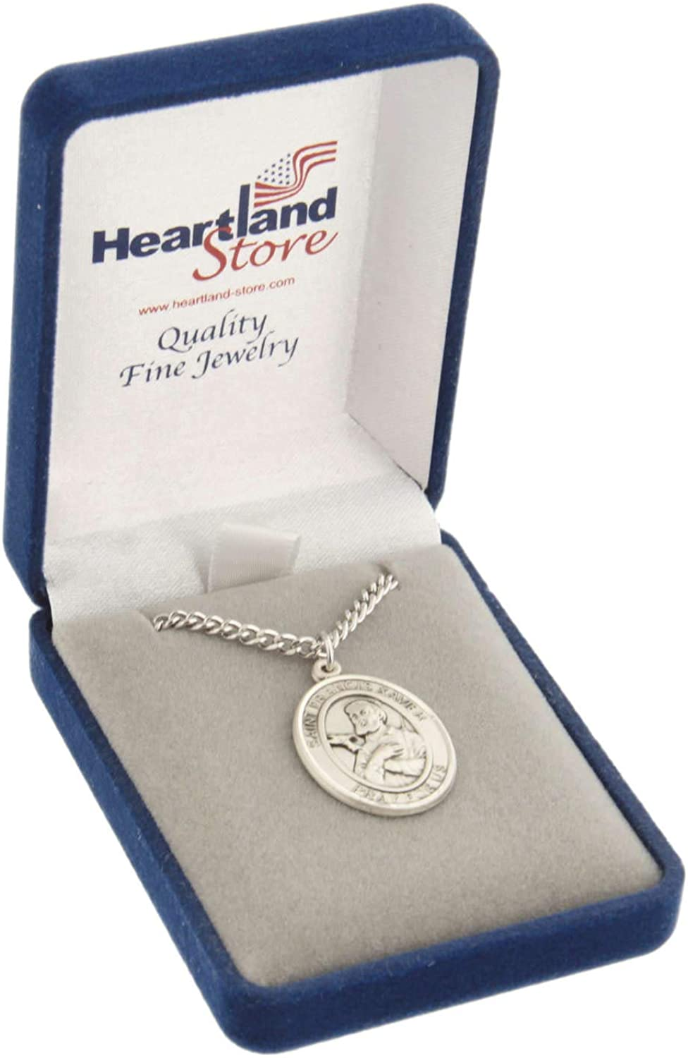 18 Inch Sterling Silver Chain /& Clasp Heartland Store Womens Sterling Silver Saint Francis De Sales Oval Medal