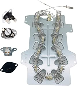 HIFROM Replacement DC47-00019A Heating Element,DC47-00018A Thermostat,DC96-00887A & DC47-00016A Thermal Fuse & DC32-00007A Thermistor Set for SAMSUNG Whirlpool Kenmore Dryer Heater Replace WP35001247