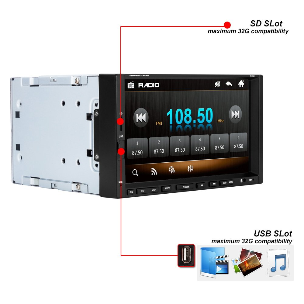 Ezonetronics/® 2DIN 7 Screen Car Stereo FM USB SD MP4 Player//Hands free//A2DP Remote Control Rear Camera Input CW9301