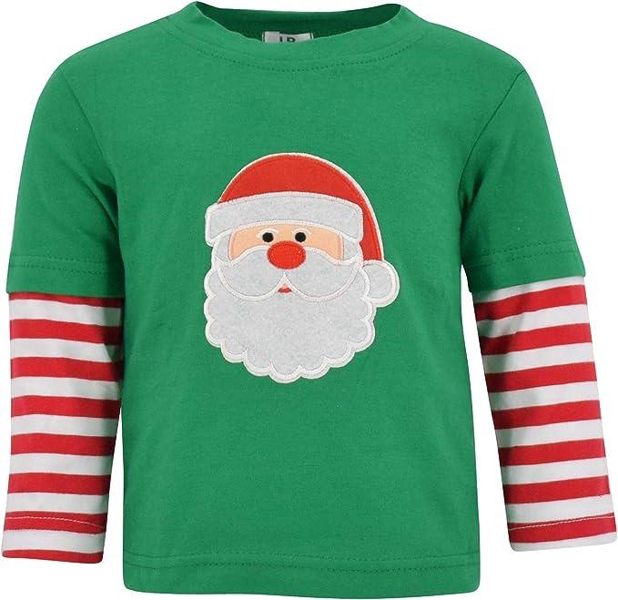 Christmas T-Shirt Unisex Kids Long Sleeve Santa Claus Applique Holiday New