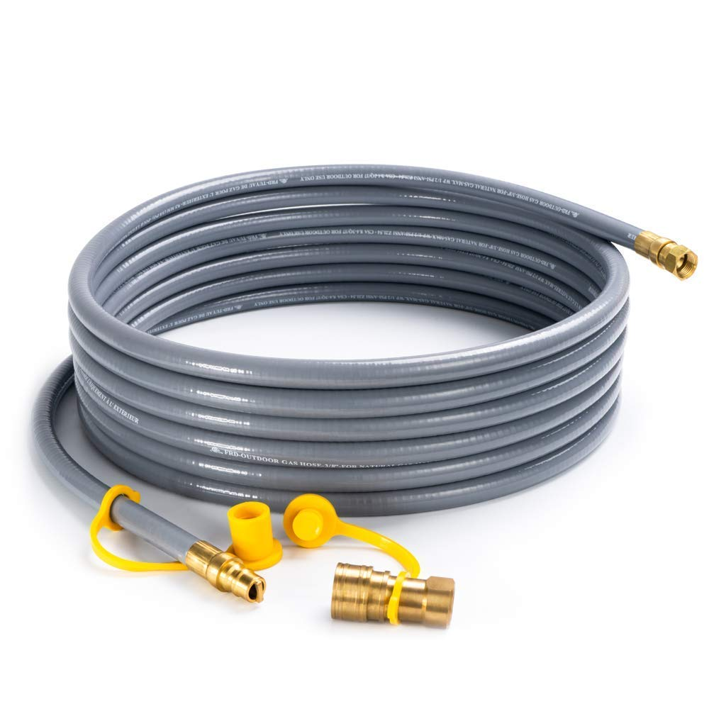SHINESTAR 24 Feet Natural Gas and Propane Gas Hose Assembly for Low Pressure Appliance -3/8 Female Pipe Thread x 3/8 Male Flare Quick Connect Disconnect - CSA Certified SS_NG_24FT