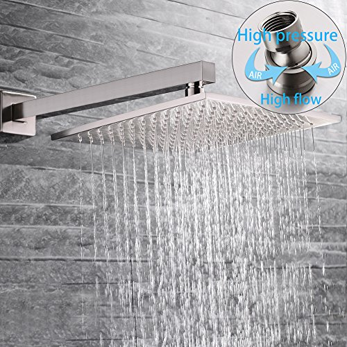 SR SUN RISE Brass Shower System 10 Inch Bathroom Luxury Rain Mixer Shower Combo Set Wall Mounted Rainfall Shower Head Systems Brushed Nickel Finish (Contain Shower Faucet Rough-In Valve Body and Trim) by SR SUN RISE (Image #2)