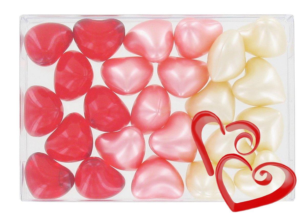 Box of 24 oil bath pearls - heart 3 fragrances S&B