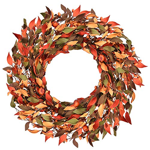 Shiny Flower Fall Wreath with Pumpkins, Mini Pumpkins Leaves Berries Fall Berry Wreath The Wreath Depot Fall Leaf Pumpkin Wreath for Thanksgiving Christmas Festival Party Door Window Wall Home - Wreath Very Berry