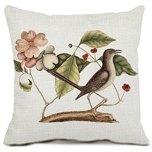 Bird Decorative Throw Pillow Covers Cotton Linen Square Cushion Covers Animal Pillow Cases for Sofa Home Decor 18x18 (Oriental Bird)