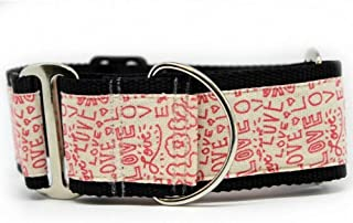 "product image for Diva-Dog 'Love Notes' 2"" Extra Wide Martingale Dog Collar"