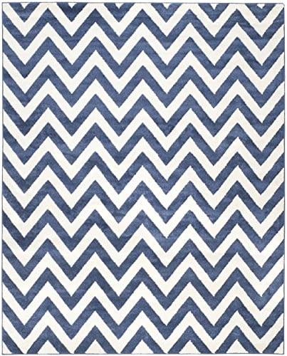 Safavieh Amherst Collection AMT419P Chevron Area Rug, 9 x 12 , Navy Beige