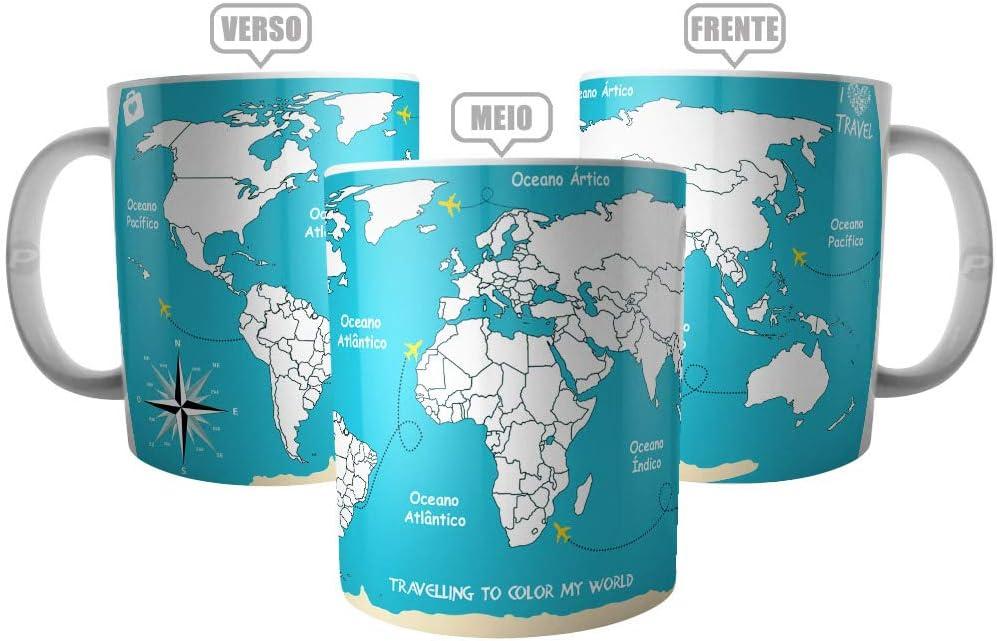 Caneca Mapa Mundi Viajante - Viagem Pelo Mundo Para Colorir