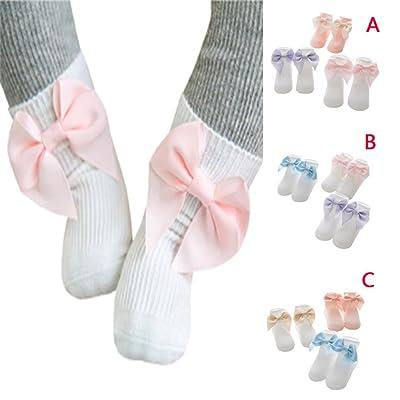 3 Pack Unisex Toddler Infant Newborn Baby Boy Girl Bowknot Solid Anti Slip Socks