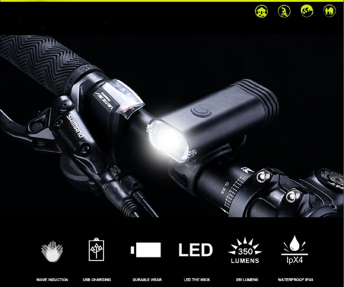 Motion Activated Duel Beam Bicycle Light ,Wave hand to switch between high low beam.USB Rechargeable Bike Light,Led lights,Flashlight lamps for everyone.