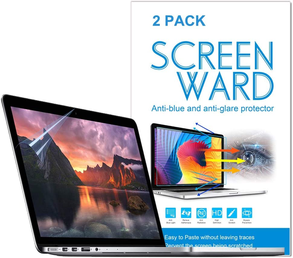 2 Pack Anti Blue Light Anti Glare Screen Protector Compatible with MacBook Air 13 A1932 A2179 with Retina Display and Touch ID, Screen Protector, Anti Glare Filter Filmand Anti Fingerprint Shield