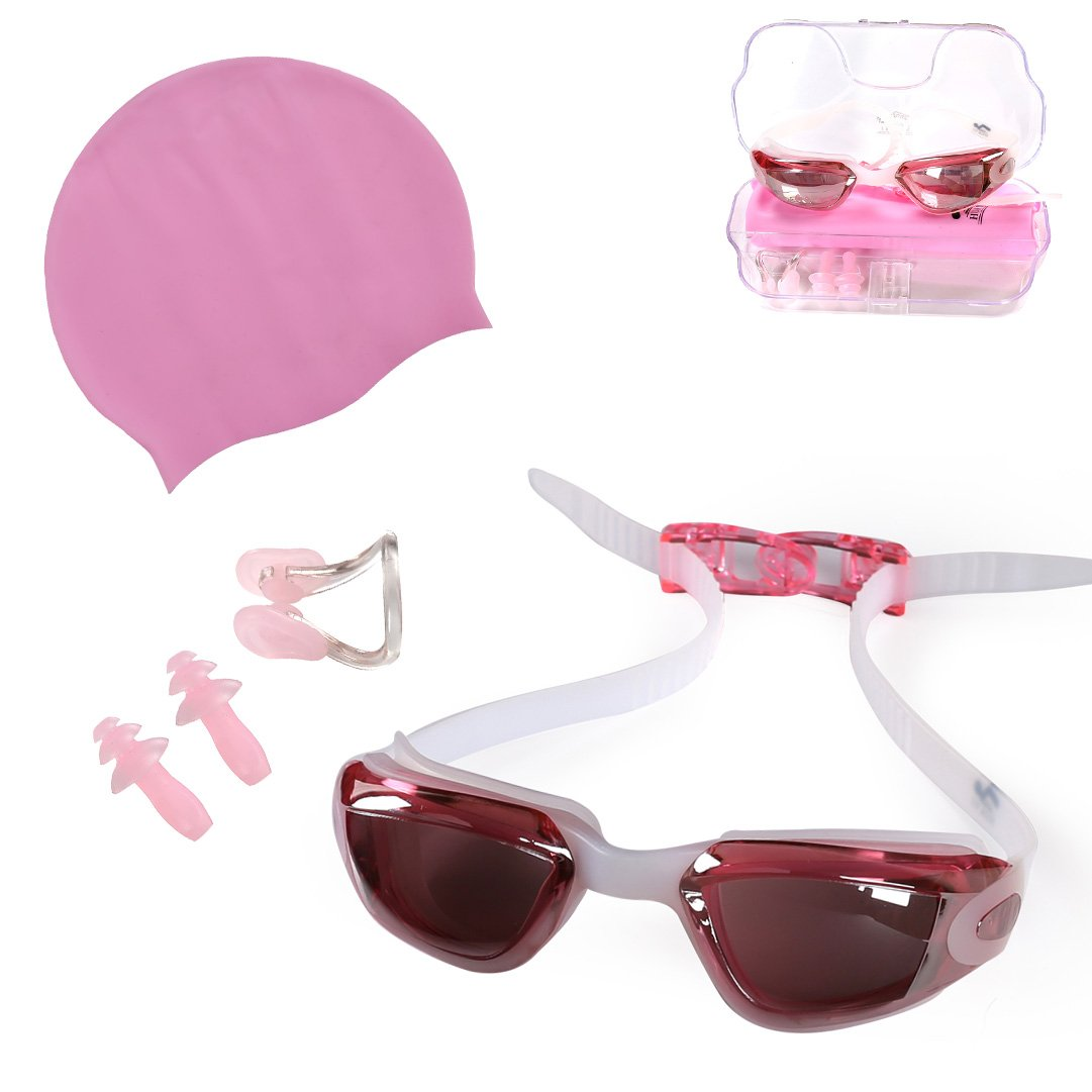 GossipBoy Swimming Accessories Set Swim Kit for Kids: Children Anti-Fogging Swim Goggles with UV Protection, Nose Clip, Earplugs and Child Silicone Swimming Cap HUAYI