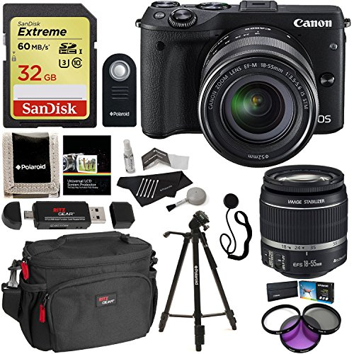 Canon EOS M3 Mirrorless Camera Kit EF-M 18-55mm Image Stabilization (IS) STM Lens Wi-Fi Black, Sandisk 32GB 60mb/s SDHC, Ritz Gear Camera Bag, Polaroid Tripod, Polaroid Filter Kit & Accessory Bundle
