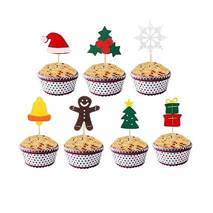 Christmas Cupcake Toppers.Amazon Com Janou Christmas Cupcake Toppers Xmas Themed Cake