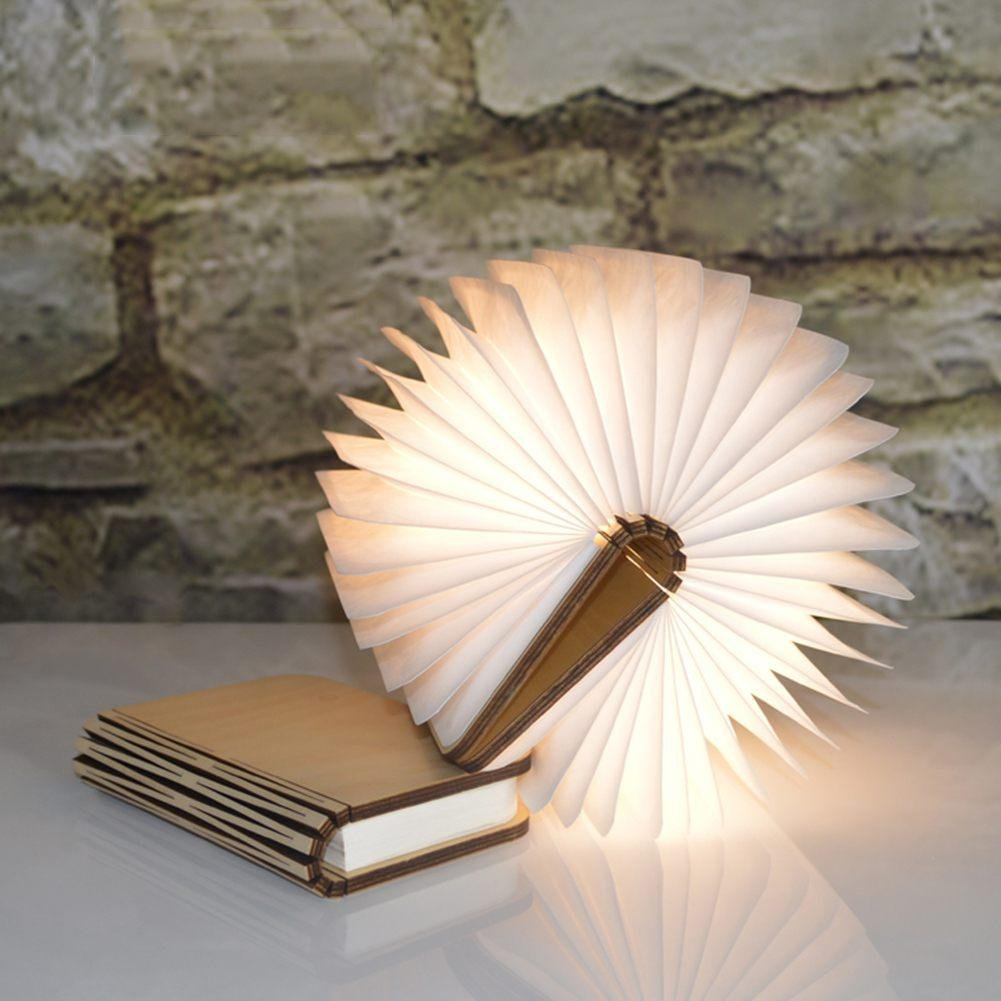SparkLia Wooden Folding Book Lights,Creative LED Foldable Book Lamp USB Rechargeable Waterproof Portable Night Light,Table,Floor,Ceiling and Bedside Decor or Lighting lamp Lights