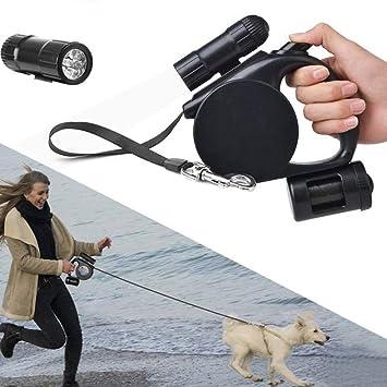 SKJIND - Correa retráctil resistente para perro con dispensador de luz y bolsa, 3 en 1, para mascotas de hasta 50 kg: Amazon.es: Productos para mascotas