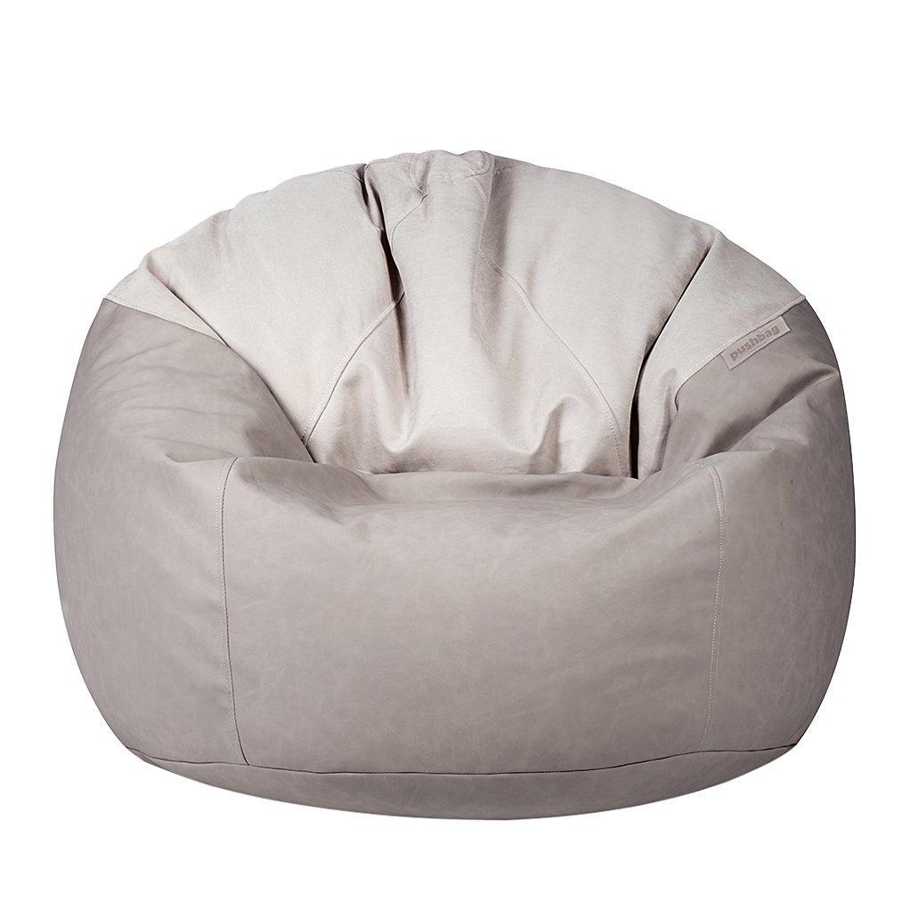 Pushbag Sitzsack Toby aus dem Material-Mix (Polyester Kunstleder), 90x75 cm, 500l, taupe