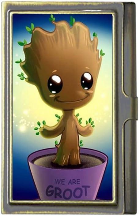 We Are Groot personnalis/és Mode Image Business Bronze Nom carte support en acier inoxydable Box Coque de carte pour portefeuille par