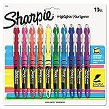 Sharpie ACCENT Highlighter, Liquid Highlighter Pen Narrow Chisel, 10-Carded, Fluorescent Assorted (24415)