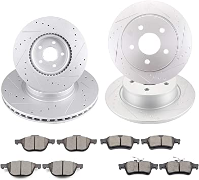 Front Rear Brake Discs Rotors Ceramic Pads For Ford Transit Connect 2015-2018
